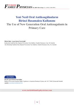 Yeni Nesil Oral Antikoagülanların Birinci Basamakta Kullanımı The