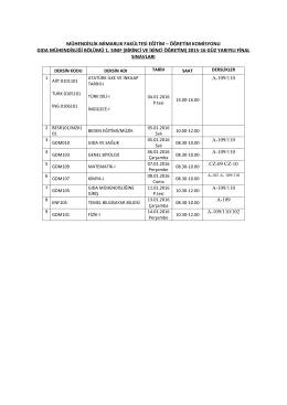 Gıda Mühendisliği Bölümü vize sınav takvimi
