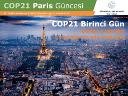 COP21 Paris Güncesi COP21 Birinci Gün