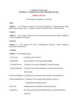 Cumhuriyet Üniversitesi Kütüphane ve Dokümantasyon Daire