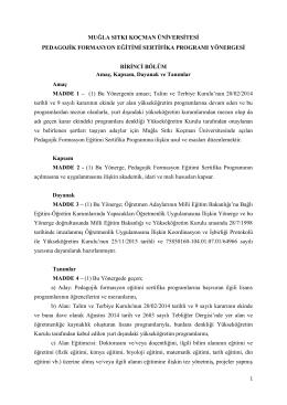 Muğla Sıtkı Koçman Üniversitesi Pedagojik Formasyon Eğitimi