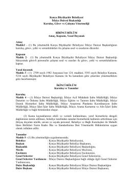 Konya Büyükşehir Belediyesi İtfaiye Dairesi Başkanlığı Kuruluş