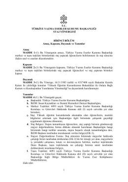 türkiye yazma eserler kurumu başkanlığı staj yönergesi