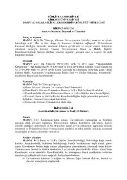 türkiye cumhuriyeti giresun üniversitesi basın ve halkla ilişkiler
