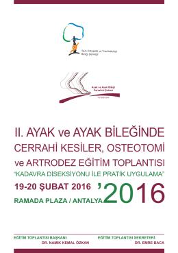 II. AYAK ve AYAK BİLEĞİNDE - Türk Ortopedi ve Travmatoloji Birliği
