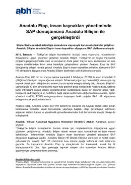 Anadolu Etap, insan kaynakları yönetiminde SAP dönüşümünü
