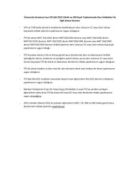 Lisans Ders İntibakları İle İlgili 29.09.2015 Günlü Senato Kararları