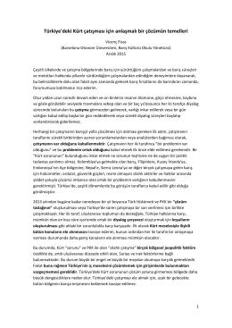 Türkiye`deki Kürt çatışması için anlaşmalı bir çözümün temelleri