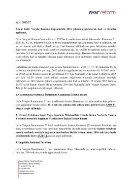 Sayı: 2015/27 Konu: Gelir Vergisi Kanunu kapsamında 2016 yılında