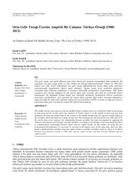 Orta Gelir Tuzağı Üzerine Ampirik Bir Çalışma: Türkiye Örneği (1980