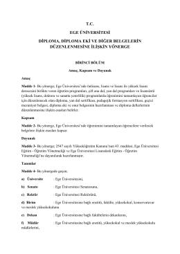 T.C. EGE ÜNİVERSİTESİ DİPLOMA, DİPLOMA EKİ VE DİĞER