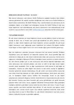 BİZİM BAKICI GİZLİLİK POLİTİKASI - 05.10.2015 Web