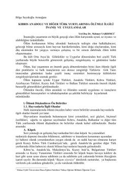 34 kıbrıs anadolu ve diğer türk yurtlarında ölümle ilgili inanış ve