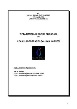 Üroloji Anabilim Dalı - Celal Bayar Üniversitesi