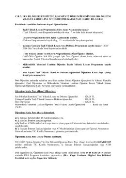 cbü. fen bilimleri enstitüsü lisansüstü öğrencierinin 2015