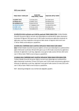 2015 sınav takvimi 29 AĞUSTOS 2015 tarihinde saat 10.00`da