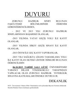 DUYURU - Akdeniz Üniversitesi Edebiyat Fakültesi