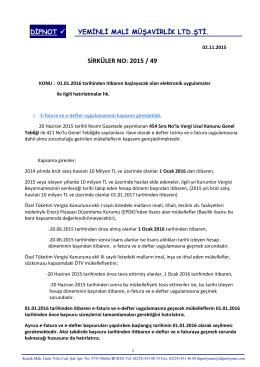 sırk 2015-49 elektronik uygulamar ile ilgili hatırlatmalar hk.