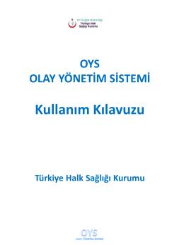 Kullanım Kılavuzu - Türkiye Halk Sağlığı Kurumu