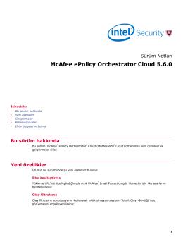 McAfee ePolicy Orchestrator Cloud 5.6.0 Sürüm Notları