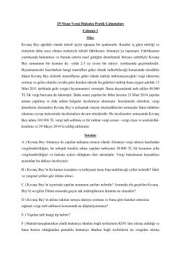 29 Nisan Vergi Hukuku Pratik Çalışmaları Çalışma 1 Olay Kıvanç