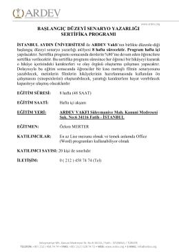 Başlangıç Düzey Senaryo Yazarlığı Sertifika Programı