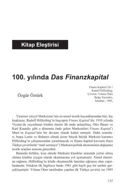 100. yılında Das Finanzkapital
