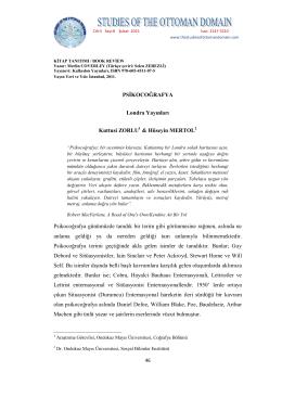 PSİKOCOĞRAFYA Londra Yayınları Kuttusi ZORLU & Hüseyin