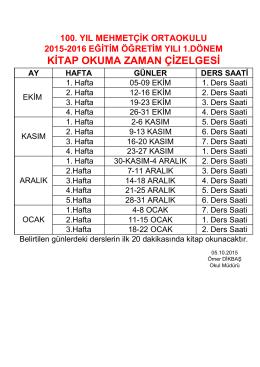 KİTAP OKUMA ZAMAN ÇİZELGESİ - 100. Yıl Mehmetçik Ortaokulu