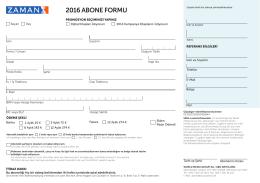 2016 ABONE FORMU - Abonelik - ZAMAN