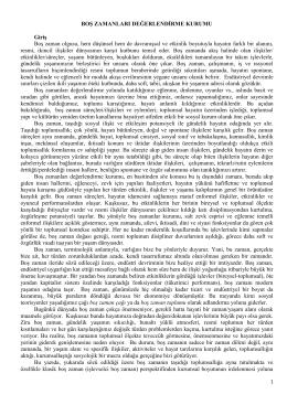 BOġ ZAMANLARI DEĞERLENDĠRME KURUMU GiriĢ Boş zaman