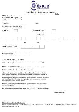 Mail Order - Önder Zaman Kontrol ve Güvenlik Sistemleri