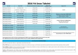 2016 Yılı Sınav Takvimi