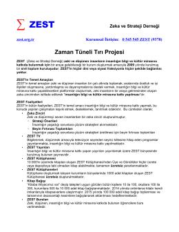 ZEST Zaman Tüneli Tırı Projesi