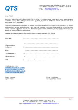 E-Posta Sözleşmesi - QUANTUM TAKıM SANAYI ÜRÜNLERI ÇELIK