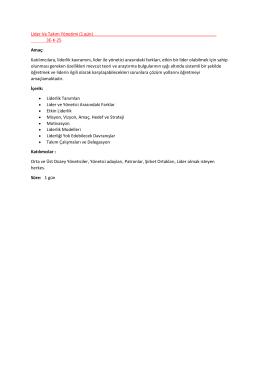 Lider Ve Takım Yönetimi (1 gün) 3E-K