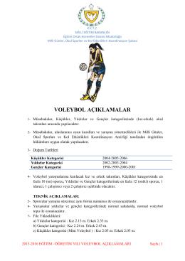Voleybol 2015-2016 Müsabaka Talimatları