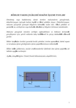 Takım Çelikleri Makina İşleme Payları