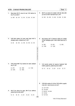 KÂR - ZARAR PROBLEMLERİ Test -1