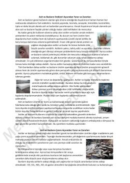 Asit ve Bazların Endüstri Açısından Yarar ve Zararları Asit ve