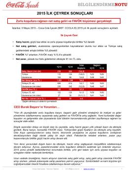 BİLGİLENDİRMENOTU - Coca Cola İçecek