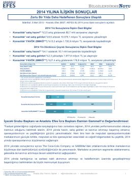 AEFES 31.12.2014 Finansal Sonuçlar Bilgilendirme