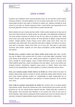 ÇOCUK ve EKRAN - Pedagoji Derneği