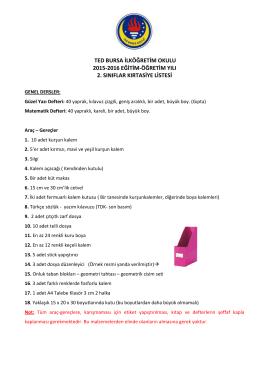 2. Sınıf Kırtasiye Listesi