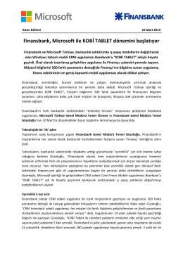 Finansbank, Microsoft ile KOBİ TABLET dönemini başlatıyor