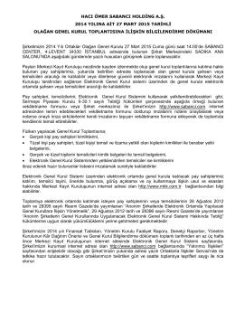 2014 Genel Kurul Bilgilendirme Dokümanı