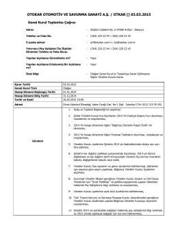 Özel Durum Açıklama Formu – 03.03.2015
