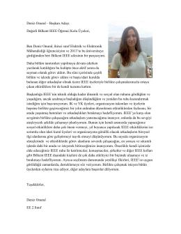 Deniz Onural – Başkan Adayı Değerli Bilkent IEEE Öğrenci Kolu