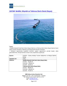 GATAB Beldibi, Göynük ve Tekirova Derin Deniz Deşarjı