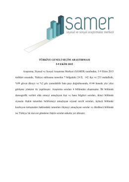 Ekim 2015 Türkiye Geneli Seçim Araştırması Dosyası
